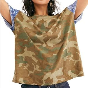 Free People Clarity Tee in Army Xsmall NWT